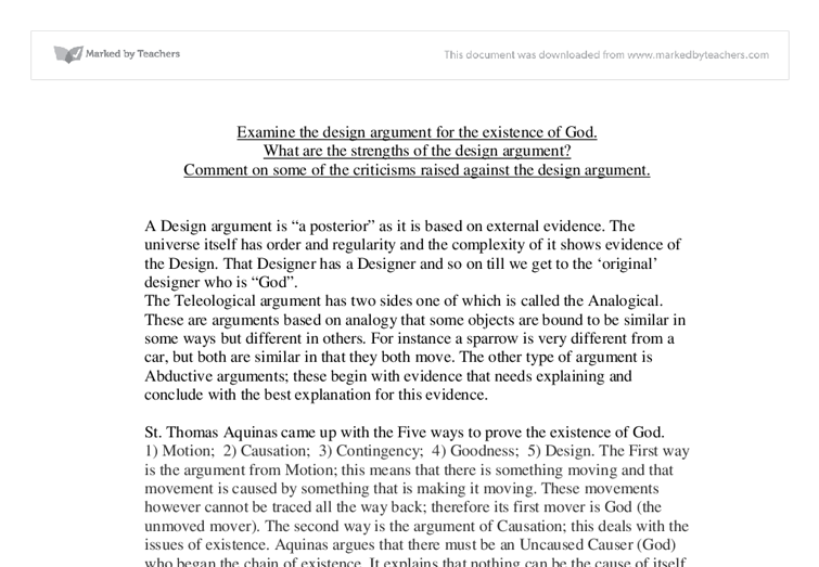 the arguments for the existence of god essay The arguments for the existence of god essay sample it is difficult to prove the presence of something unseen and incapable of being measured.