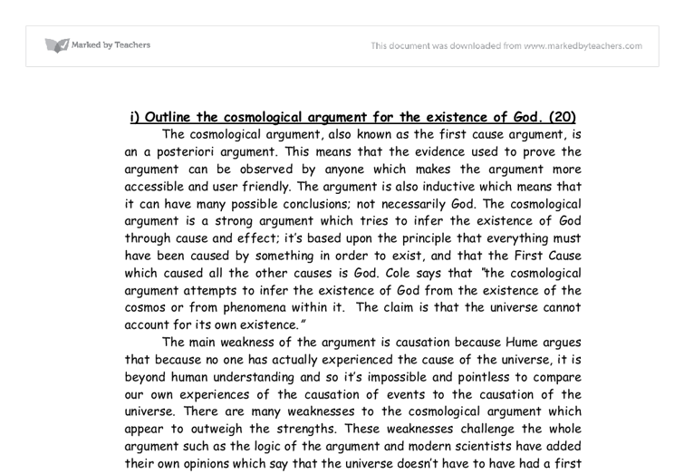 outline the cosmological argument for the existence of god a  document image preview