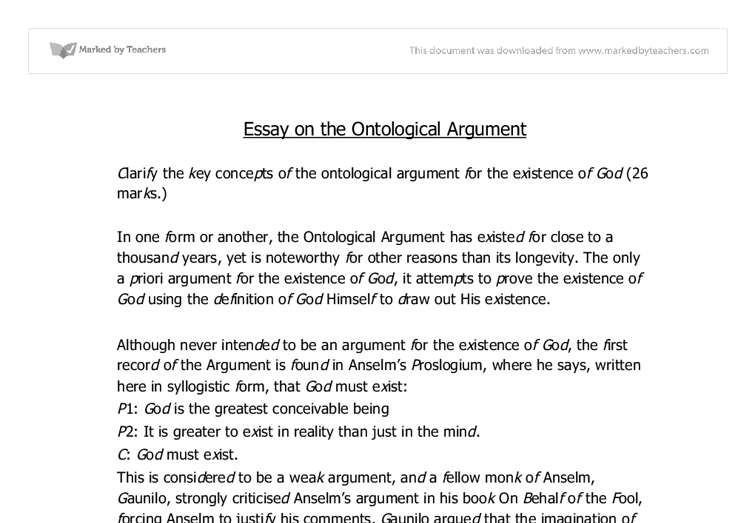 ontological argument essay ontology essay samples examples