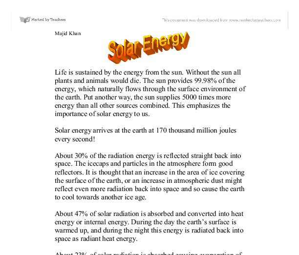 persuasive essays on solar energy Read this essay on renewable energy presentation outline come browse our large digital warehouse of free sample essays get the knowledge you need in order to pass.