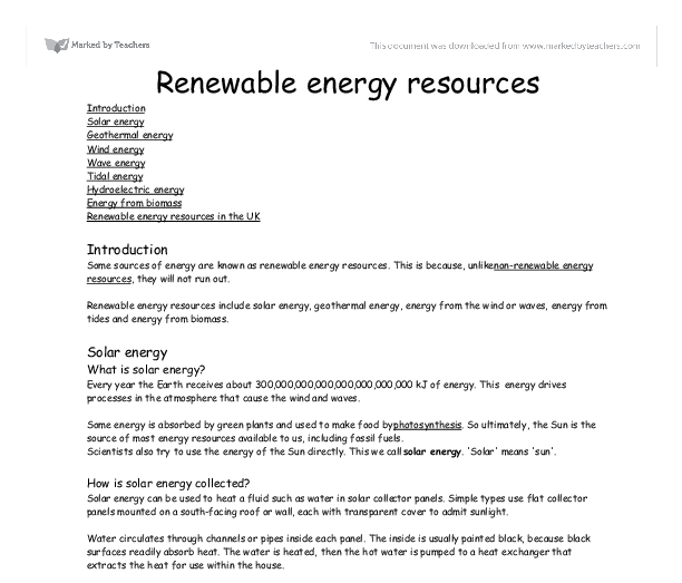 Renewable resources essay