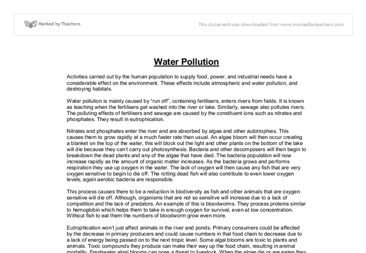 water pollution in canada essay Water pollution is not a major problem nationally, although it can be a source of concern in some localities major causes of water pollution in canada include acid.