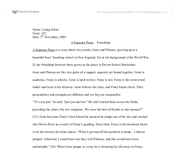 gene and finny friendship essay
