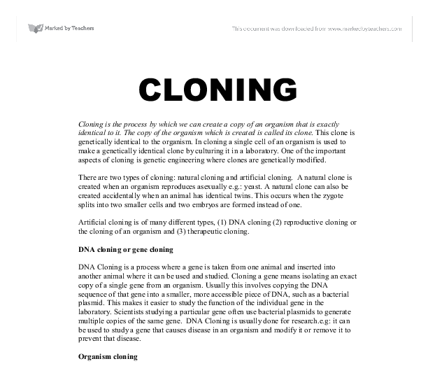 cloning persuasive essay (pattinson 2002) this means that cloning is the ability to create one organism as an exact replica of another organism since nature does not do this on its o .