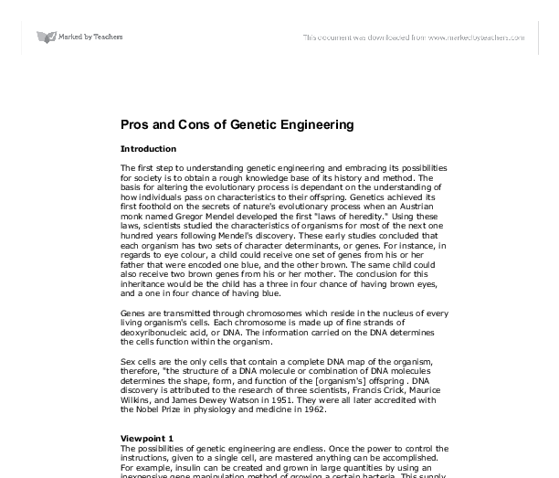 pros and cons of genetic engineering a level science marked by  document image preview