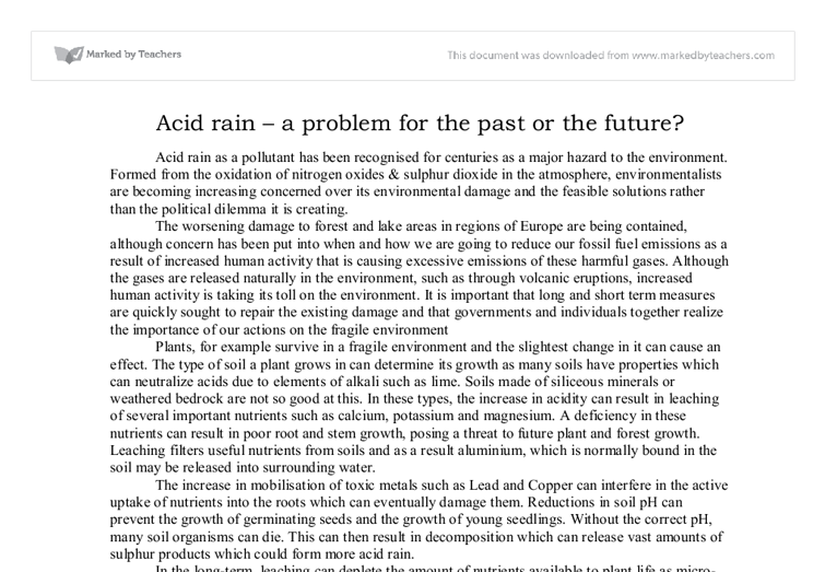 a report on the serious issue of acid rain Acid rain web quest  on how to combat this serious issue chemist what is an acid  after having researched and written your report on acid rain.
