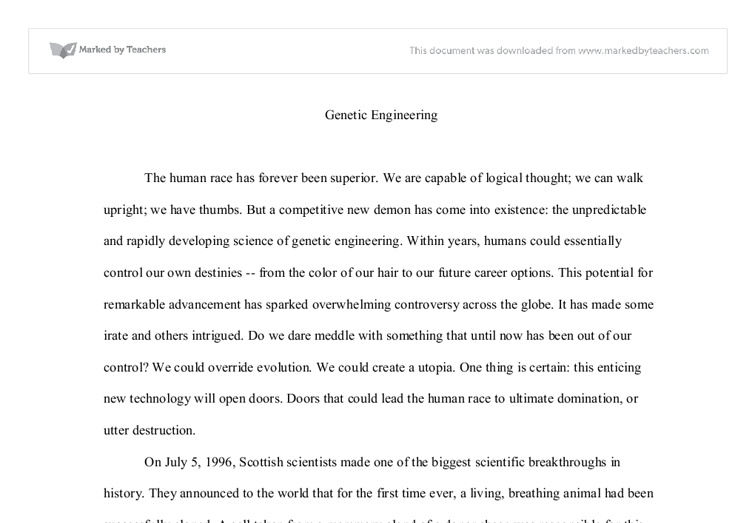 genetic engineering should be banned a level science marked by  document image preview