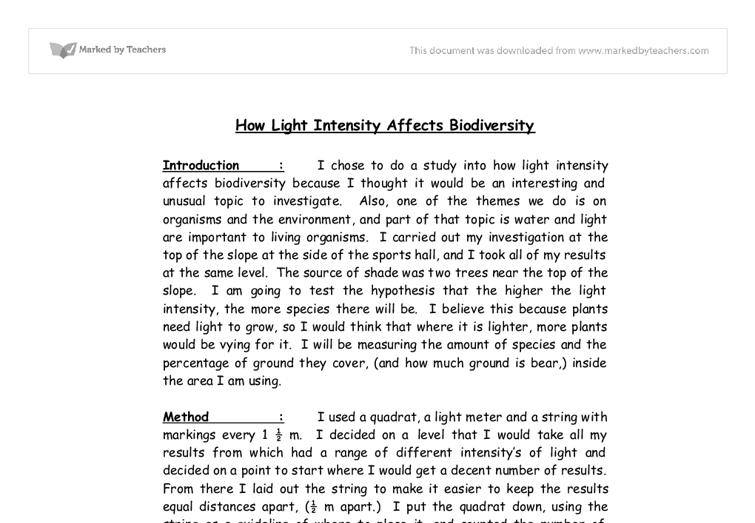 how light intensity affects biodiversity a level science  document image preview