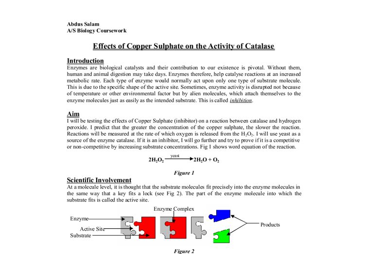 coursework catalase Ideas for coursework assignments or projects involving the rates or speed of chemical reactions on the factors affecting the rates of chemicals which also has brief.