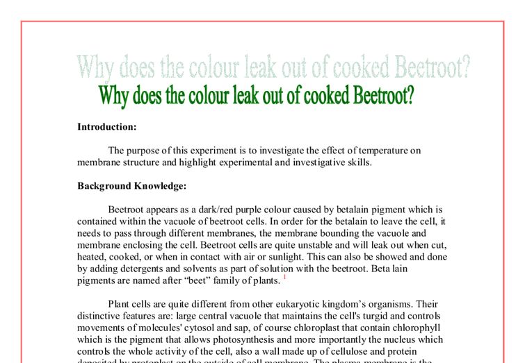 beetroot membrane essay Read this science essay and over 88,000 other research documents beet root experiment i predict that as the temperature is raised the number of molecules that are able to leave the cell and.