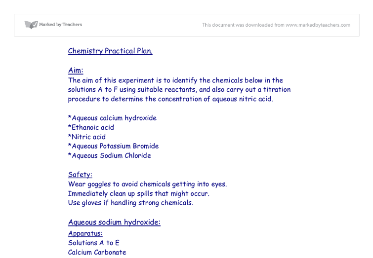 Chemistry as coursework