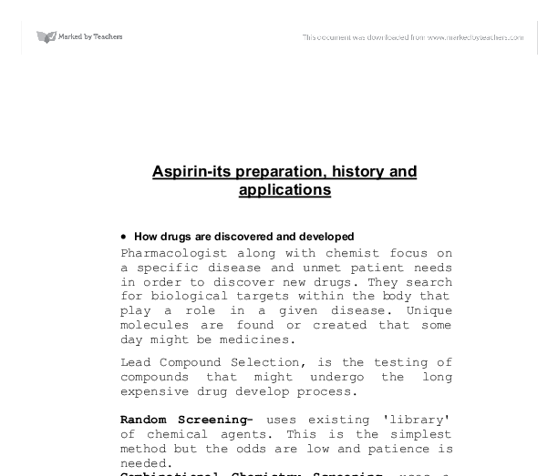 aspirin its preparation history and applications essay The objective of this experiment is to be able to prepare some simple organic   aspirin and its impact today aspirin, as it is known today, is a substance called   properties of aspirin as well as what the uses are, the history of the chemical,.