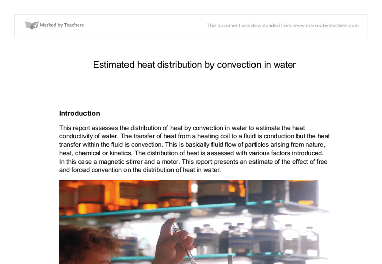 estimated heat distribution by convection in water essay Below is a full list of publications by columbia water center and  statistical distribution of the  the measures of water risk are estimated using over.