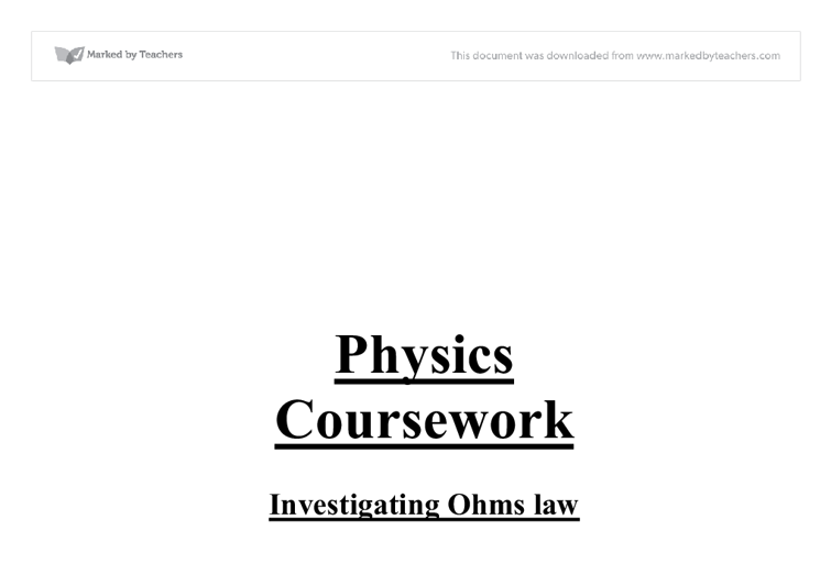 Ohm's law essay
