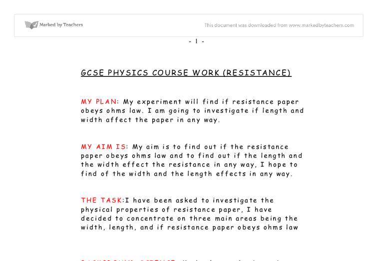 gcse physics coursework parachute Weight your weight is due to gravitational force of attraction between you and the earth  physics gcse home » weight and  when the parachute is opened the .