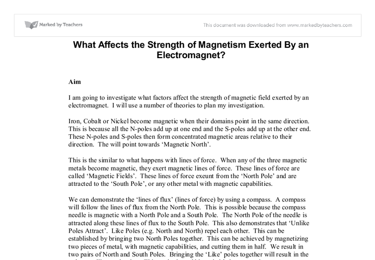 electromagnet and how it affects it essay What is electron microscopy the electron microscope is a type of microscope that uses a beam of electrons to create an image of the specimen.
