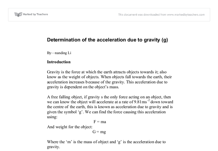acceleration due gravity essay