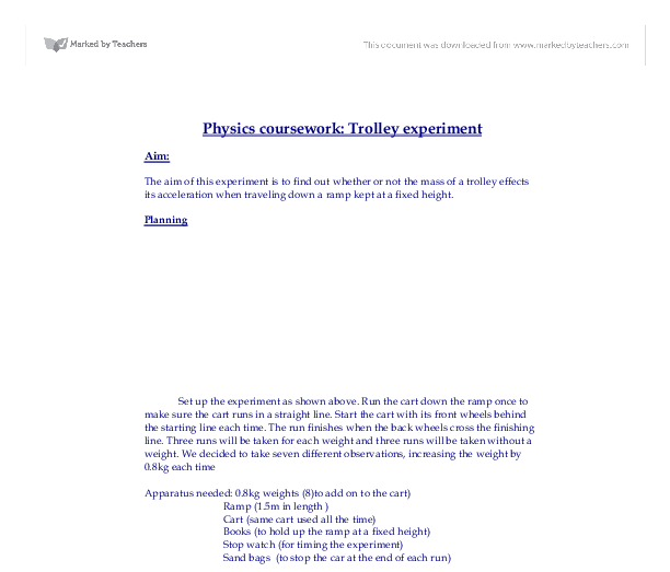 Physics Coursework: Trolley experiment Essay Sample