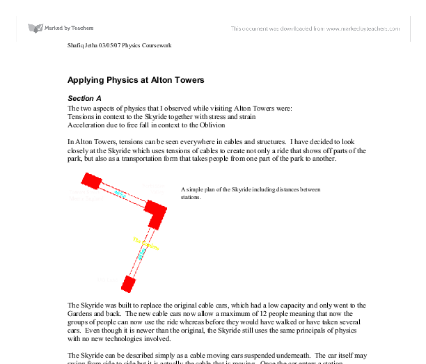 applying physics at alton towers essay Published: mon, 5 dec 2016 it was a challenge for me to work on this project, because it is a learning process for me that how, i could tackle this question therefore i collected primary and secondary data for my project and try my best to analyze the whole situation and produce a good peace of work.
