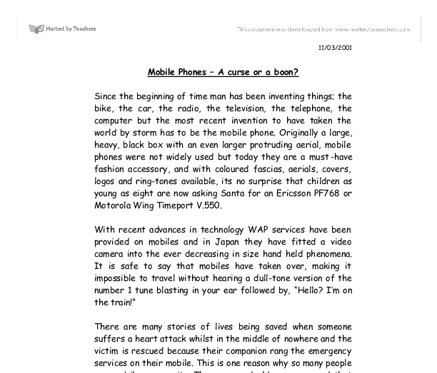 Essay on the use of cellphones in schools