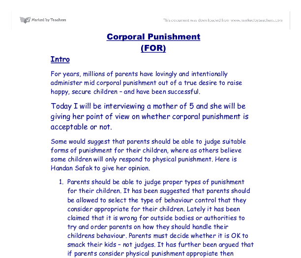 corporal punishment a level sociology marked by teachers com document image preview