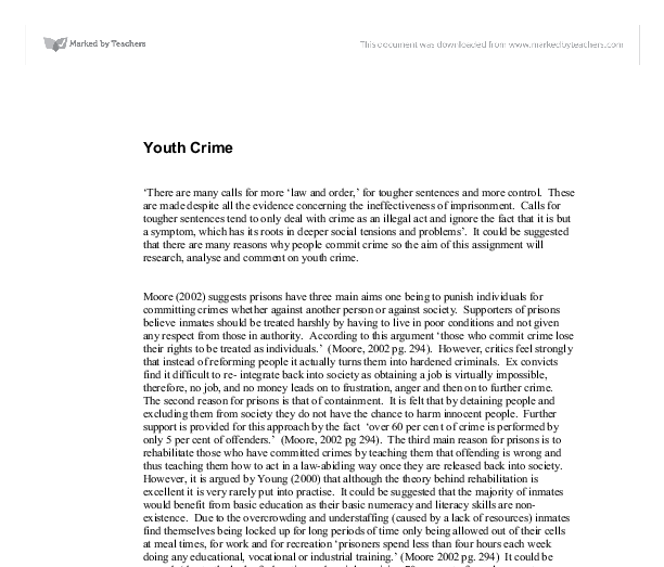 youth crime a level sociology marked by teachers com document image preview