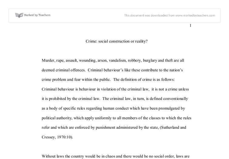 crime social construction or reality a level sociology  document image preview