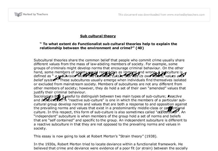 subcultural theory a level sociology marked by teachers com document image preview