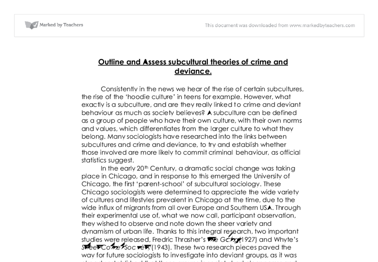 outline and assess subcultural theories of crime and