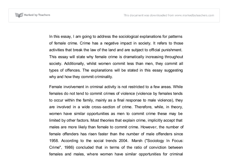 sociological explanations for patterns of female crime a level document image preview