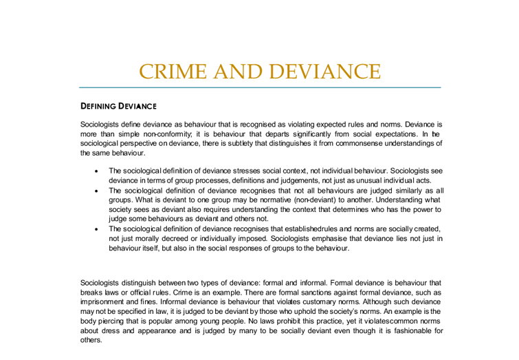 Sociology of crime and deviance essays