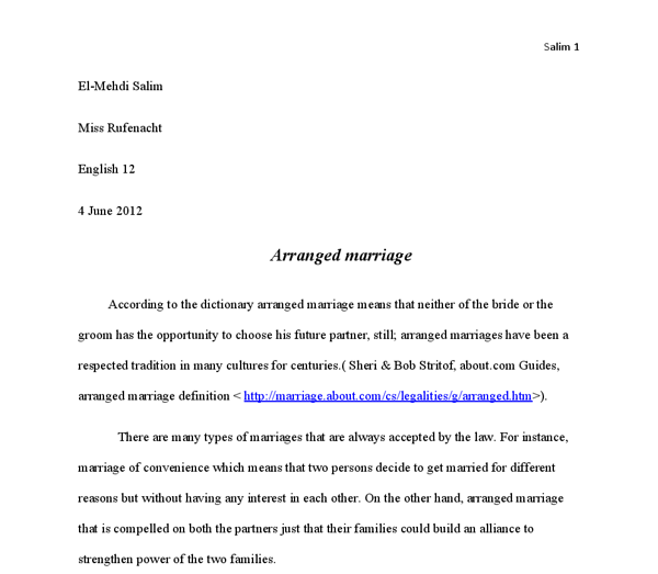 Arranged marriage definition essay sample
