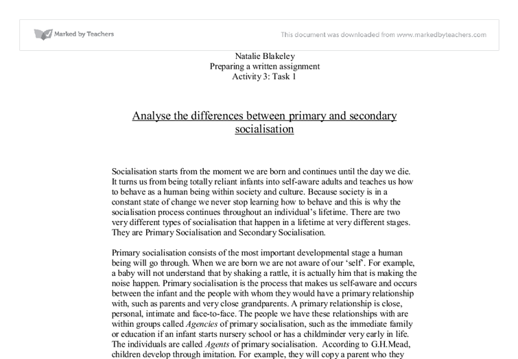 analyse the differences between primary and secondary socialisation  document image preview