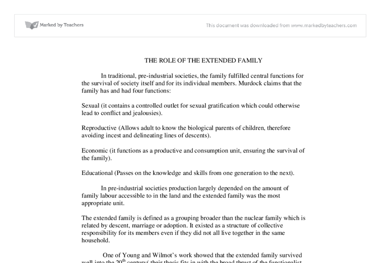 the role of the extended family a level sociology marked by  document image preview