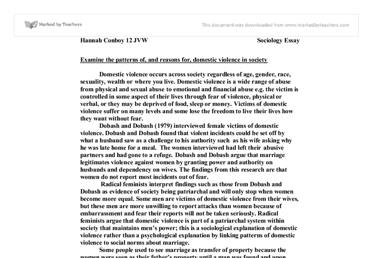 domestic violence a level sociology marked by teachers com document image preview
