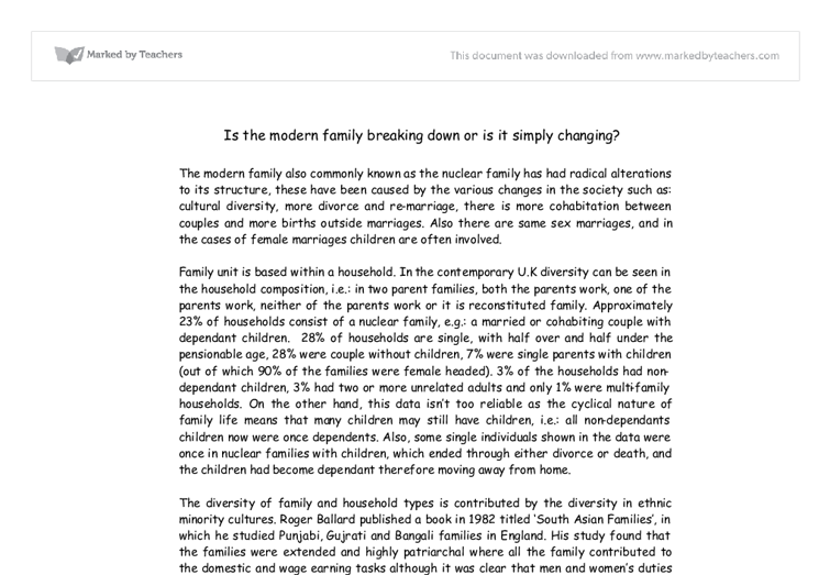 divorce in the family essay The very rational and purposeful legal process of divorce contrasts mightily with the chaotic and emotional aspects of divorce which involve coming to grips with rather massive life changes as significant and shattering as any family death and which may involve significant grief, anger, sadness and pain.