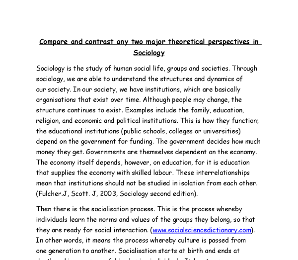compare and contrast two sociological theories a level sociology  document image preview