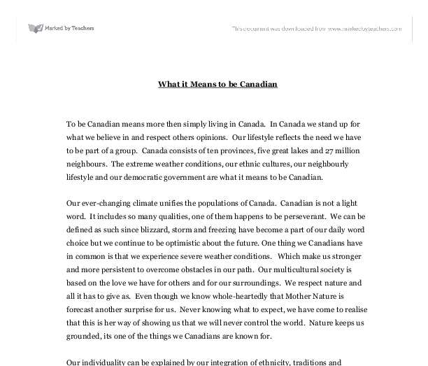 what actually the item mean for you to come to be canadian essay