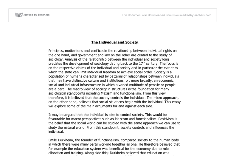 individual versus society essay Essay the adventures of huckleberry finn the conflict between society and the individual is a very important theme portrayed throughout mark twain's the adventures of huckleberry finn.