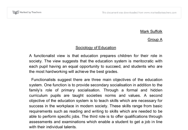 Essay on sociology of educationhtml