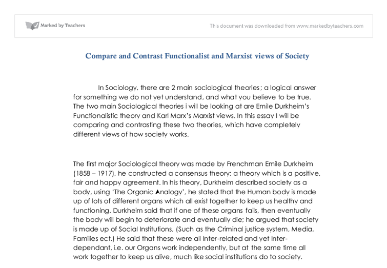 compare and contrast functionalist and marxist views of society  document image preview