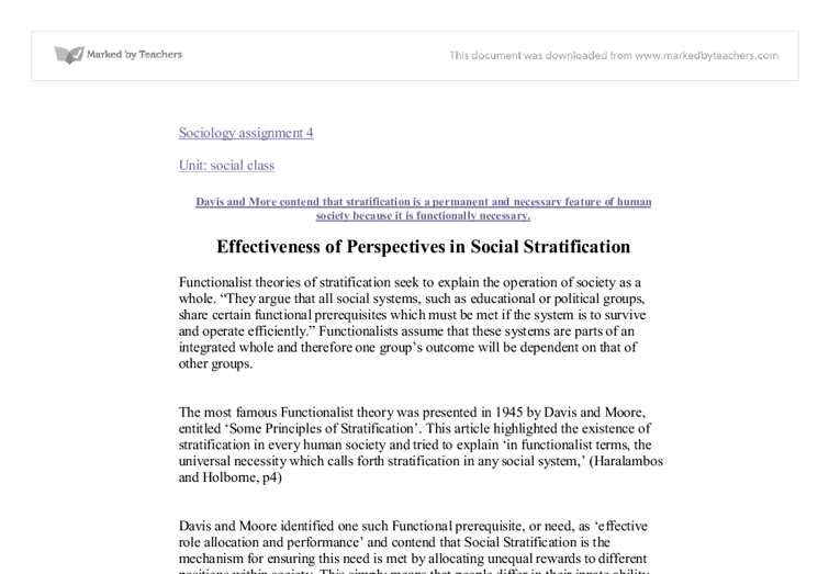 effectiveness of perspectives in social stratification a level  document image preview
