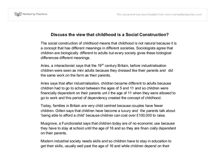social construction of childhood essay The powerpoint social construction of childhood helps with your revision notes while this bbc clip examines 'childhood' in victorian britain  what is childhood.
