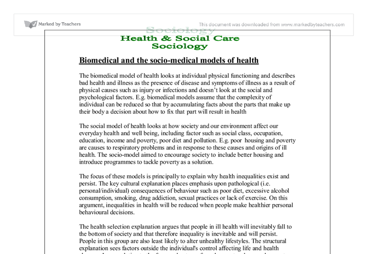 essay sociology health illness Read this full essay on sociology of health and illness  sociology of health and  illness the sociological approaches focus on identifying the two sociolog.
