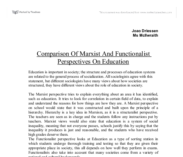 a comparison of marxist and functionalist An analysis of the three sociological perspectives through analysis, a compare and contrast of the three sociological perspectives: functionalist, conflict, and interactionist this paper discusses three approaches that can be taken when studying sociology.