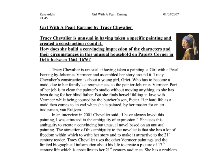 Tracy chevalier the girl with the pearl earring essay