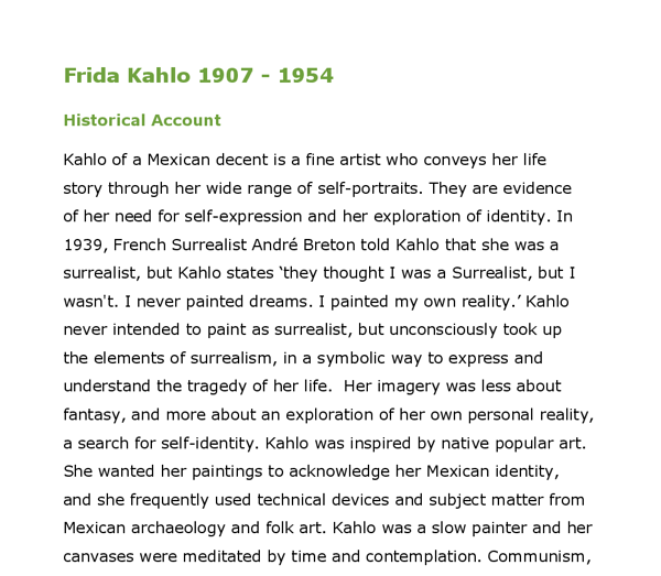 frida kahlo life and works gcse art marked by teachers com document image preview