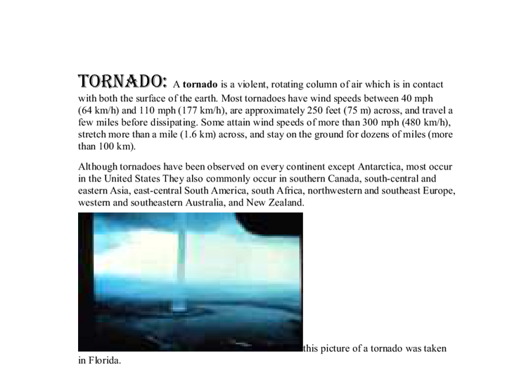 Essay on tornadoes