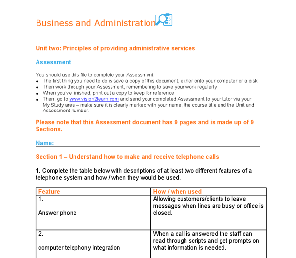 Nvq business admin optional units