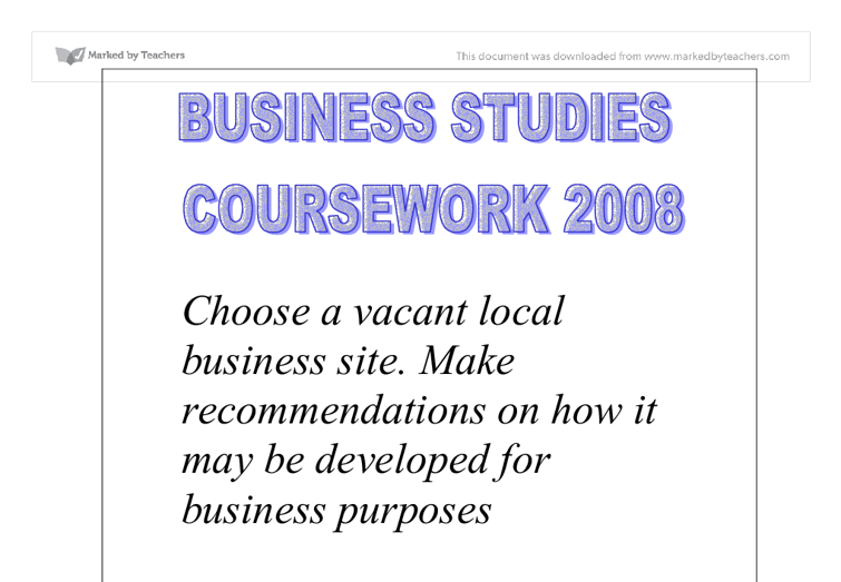 Business studies coursework gcse help